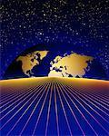Globe s'élevant sur l'Horizon et la grille avec le ciel étoilé en Amérique du Nord et en Europe