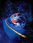 Route reliant au Globe dans l'espace