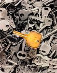 Gold Key on Pile of Keys