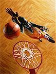 Overhead View of Man Playing Basketball