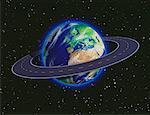 Globe en contournant l'Afrique et l'Europe Road