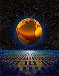 Globe and Grid in Starry Sky Atlantic Ocean