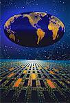 Oval Globe in Starry Sky Above Grid