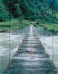 Suspended Foot Bridge over Papallacta River Napo Province, Ecuador