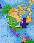 Globus als Jigsaw Puzzle-Nordamerika