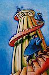 Illustration of Graduates Running Up Spiral Staircase on Column