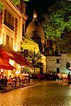Montmartre and Sacre Coeur at Night, Paris, France