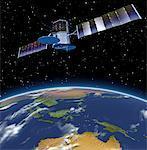 Communications Satelite and Globe Pacific Rim