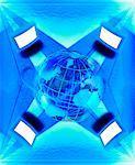 Ordinateurs avec le Globe de l'Atlantique