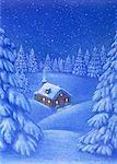 Illustration of Log Cabin in Winter at Night
