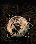 Globe and Navigational Map Atlantic Ocean