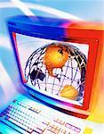Wire Globe on Computer Screen North America