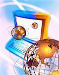 Ordinateur et trois Globes affichant les Continents du monde