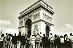 Arc de Triomphe and Tourists Paris, France