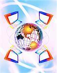 Ordinateurs qui entoure le Globe en Amérique du Nord