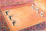 Illustration of Spectators Watching Archery