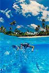 Snorkelers and Fish, Aitutaki Lagoon, Aitutaki, Cook Isalands