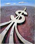 Illustration of Roads Merging Into Dollar Sign