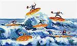 Illustration of Businessmen Surfing on Coins