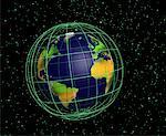 Globe and Grid Atlantic Ocean