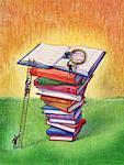 Illustration of Businessmen Climbing Stack of Books