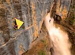 Two People Rock Climbing Banff National Park, Alberta Canada