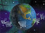 Shopping Carts Orbiting Microchip Globe in Binary Code Landscape