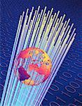 Globe, Fiber Optics and Binary Code