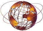 Globe de fil et anneaux, océan Atlantique