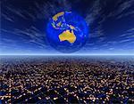 Globe over Horizon Pacific Rim