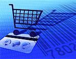 Carte de crédit et le panier d'achat avec le Code binaire