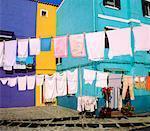 Vêtements lignes, lagon Ile de Burano-Venise, Italie