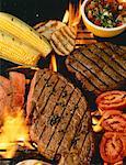 Bifteck et légumes sur le Barbecue