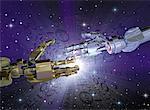 Robot Handshake and Binary Code In Space
