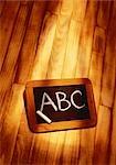 ABC on Blackboard on Wood Floor