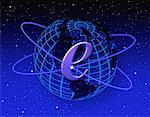 E-Commerce Symbol on Globe in Space