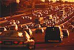 Traffic on Highway 401 at Sunset Toronto, Ontario, Canada