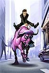 Illustration of Businessman Riding Bull on Street