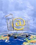 @ Symbol in Shopping Cart on Globe