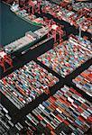 Vue aérienne du Terminal de conteneurs de fret, Hong Kong, Chine