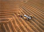 Vue aérienne de la combinaison de blé Elie, Manitoba, Canada