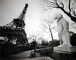 Statue and Park Bench near Eiffel Tower Paris, France