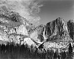 Mountains, Trees and Waterfall Yosemite National Park Sierra Nevada, California, USA