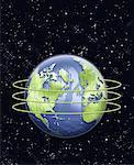 Carte de circuit imprimé Globe avec anneaux en Amérique du Nord espace
