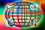 Draht-Globe, Handys, Laptop elektronischen Organisatoren und Digitalkamera