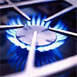 Close-Up of Gas Burner Flame