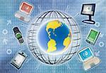 Technik Collage mit Globe Laptop-Computern, elektronischen Organisatoren und Binärcode