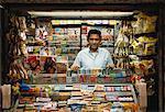 Man at Newsstand in Subway New York, New York, USA