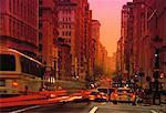 Traffic on City Street at Sunset New York, New York, USA