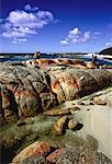 Man Standing on Rock near Water Bay of Fires, Tasmania, Australia
